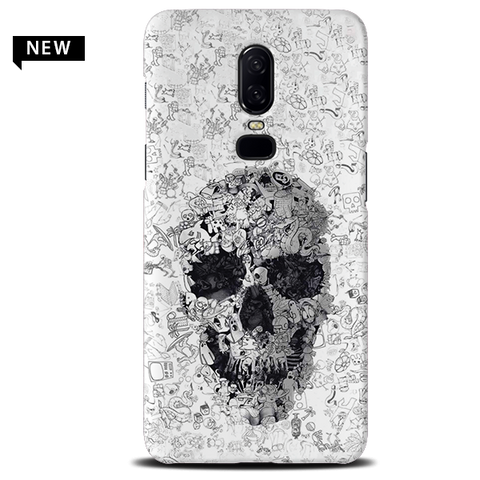 Skull Doodle Cover Case For OnePlus 6