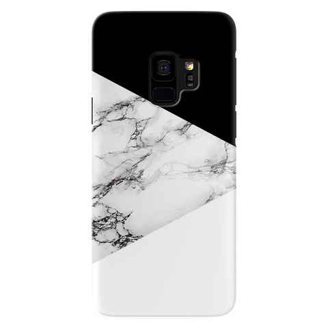 Geometric White Marble Textured Cover Case For Samsung Galaxy S9