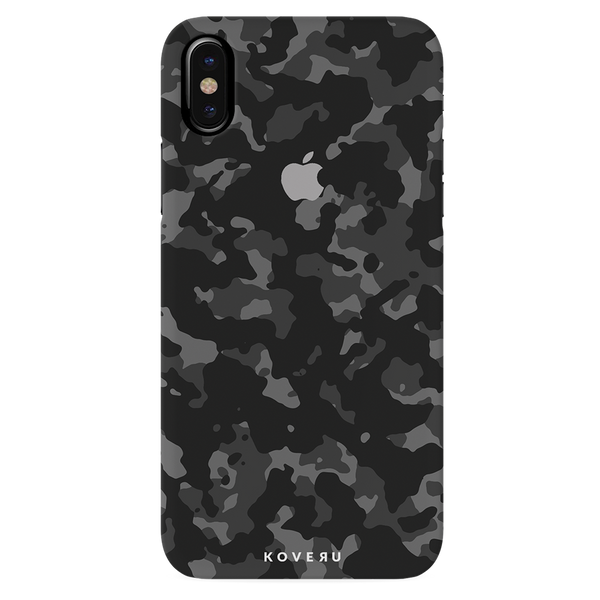 Black Patterned Camouflage Cover Case For iPhone X