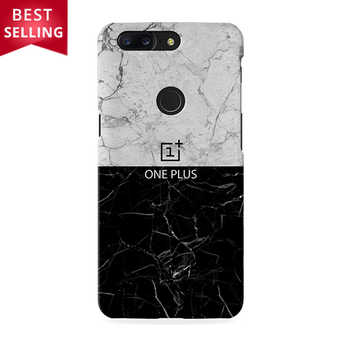 Grey & Black Marble Cover Case For OnePlus 5T