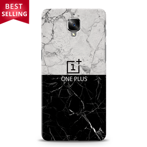 Grey & Black Marble Cover Case For OnePlus 3/3T