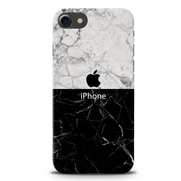 Grey & Black Marble Cover Case For iPhone 7/8