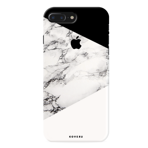 Geometric White Marble Textured Cover Case For iPhone 7/8 Plus