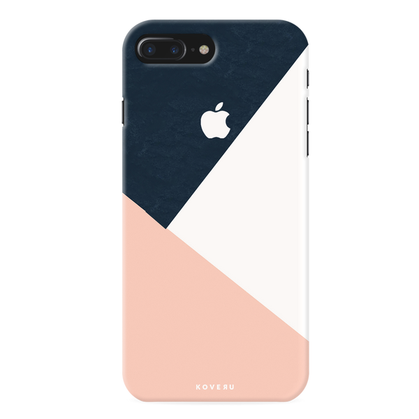 Blue Tricolor Pattern Cover Case For iPhone 7/8 Plus