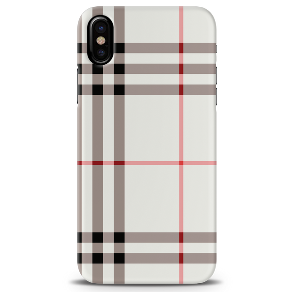 Brown Check Design Cover Case For iPhone X