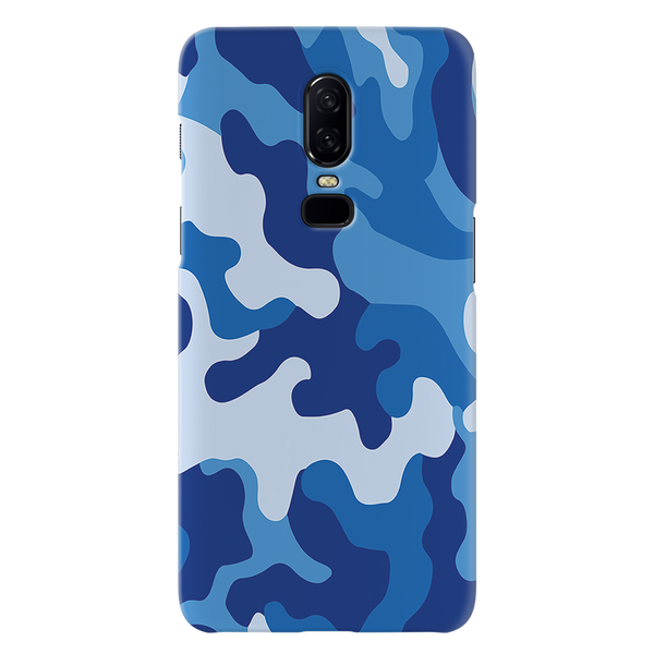 Blue Abstract Camouflage Cover Case For OnePlus 6