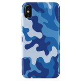 Blue Abstract Camouflage Cover Case For iPhone X
