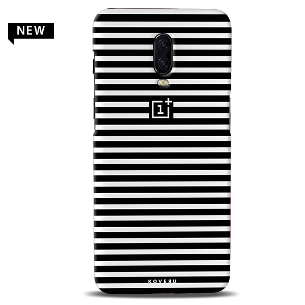 Jet Black and White Stripes Cover Case for OnePlus 6T