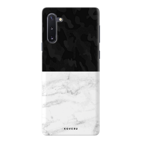 White Marble and Black Camouflage Pattern Cover Case for Samsung Galaxy Note 10