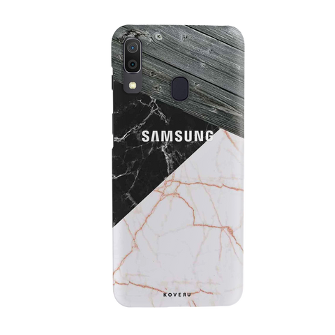 Wooden Black Marble Cover Case for Samsung Galaxy A20