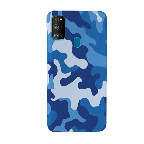 Blue Abstract Camouflage Cover Case for Samsung Galaxy M30S