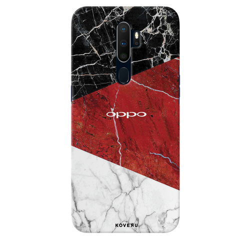 Red Geomatric Marble Cover Case for Oppo A9 2020