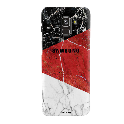 Red Geomatric Marble Cover Case for Galaxy A8 Plus