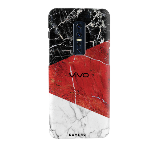 Red Geomatric Marble Cover Case for Vivo V17 Pro