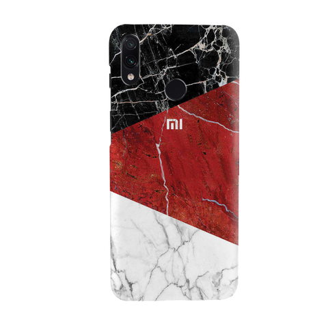 Red Geomatric Marble Cover Case for Redmi Note 7 Pro