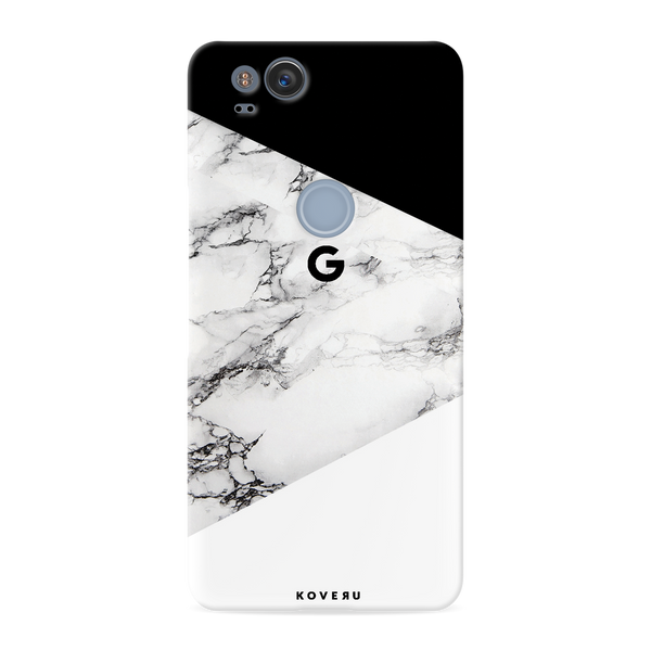 Geometric White Marble Textured Cover Case For Google Pixel 2