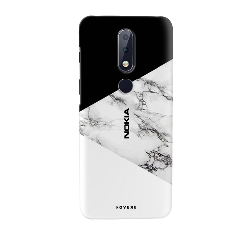 Black and white Marble Cover Case for Nokia 6.1 Plus
