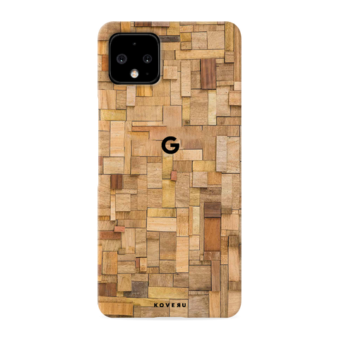 Square Wooden Cover Case for Google Pixel 4