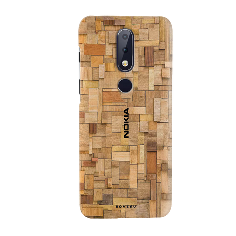 Square Wooden Cover Case for Nokia 6.1 Plus