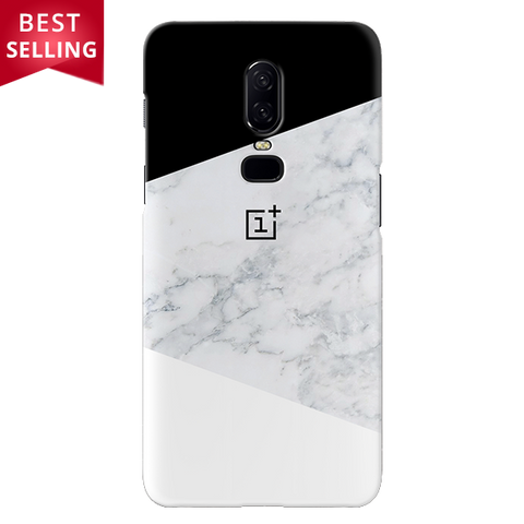 Geometric White Marble Cover Case For OnePlus 6