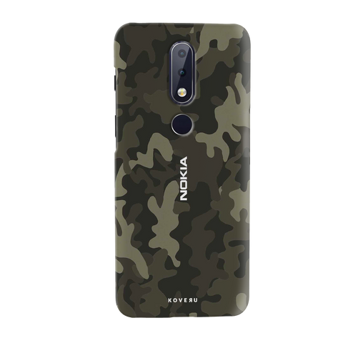 Brown Abstract Camouflage Cover Case for Nokia 6.1 Plus