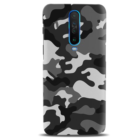 Black Abstract Camouflage Cover Case for Poco X2