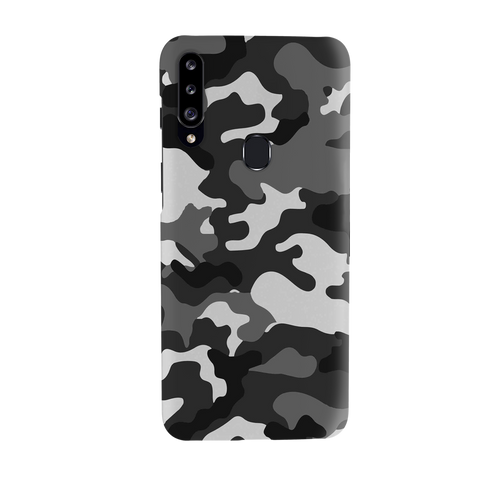 Black Abstract Camouflage Cover Case for Samsung Galaxy A20S