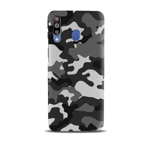 Black Abstract Camouflage Cover Case for Samsung Galaxy M30