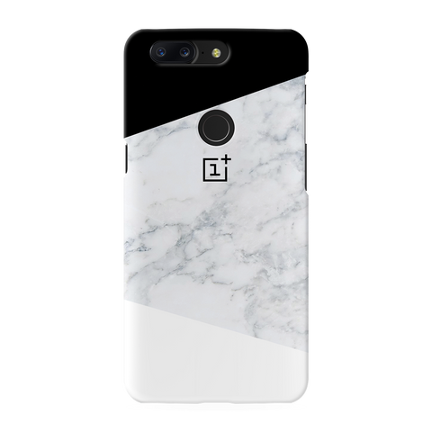 Geometric White Marble Cover Case For OnePlus 5T