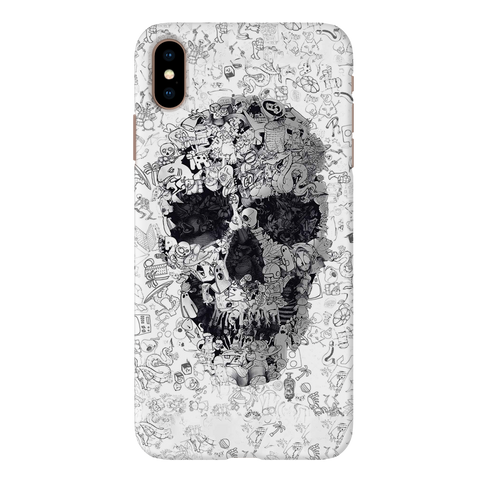Skull Doodle Cover Case For iPhone XS Max