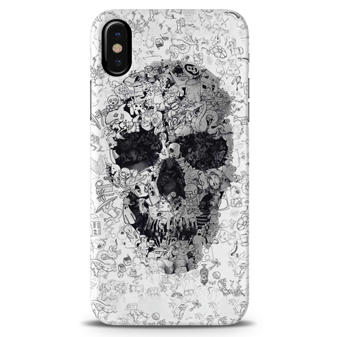 Skull Doodle Cover Case For iPhone X