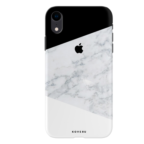 Geometric White Marble Cover Case For iPhone XR