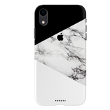 Geometric White Marble Textured Cover Case For iPhone XR