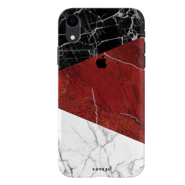 Red Geometric Marble Cover Case For iPhone XR