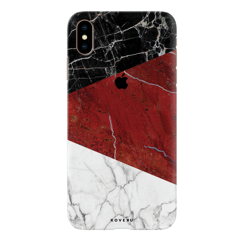 Red Geometric Marble Cover Case For iPhone XS Max