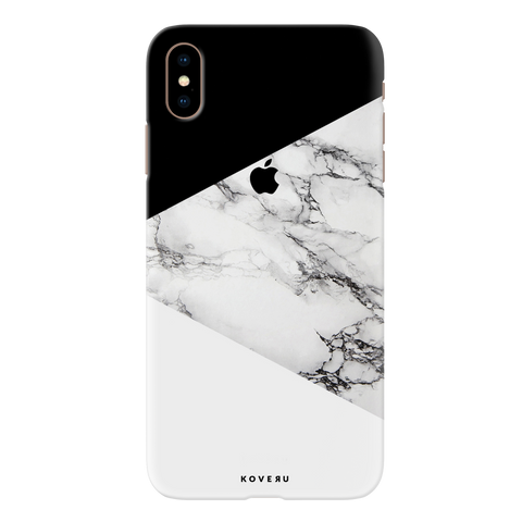 Geometric White Marble Textured Cover Case for iPhone XS Max