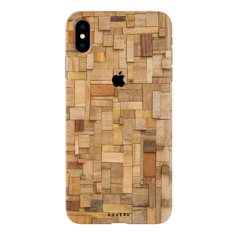 Square Wood Texture Back Cover Case for iPhone XS Max