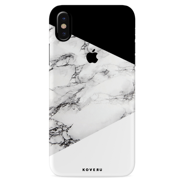 Geometric White Marble Textured Cover Case For iPhone X