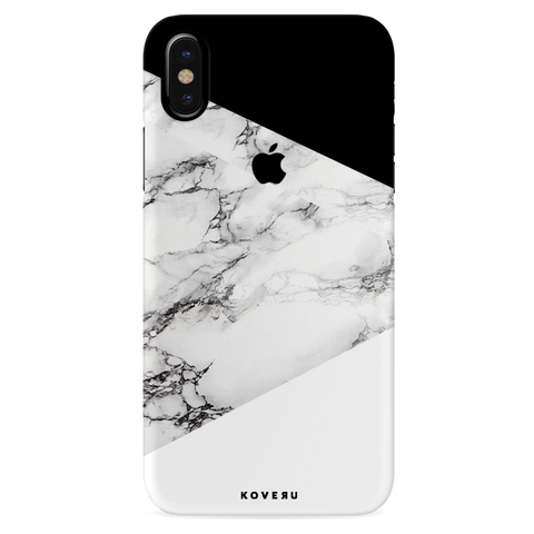 Geometric White Marble Textured Cover Case For iPhone XS
