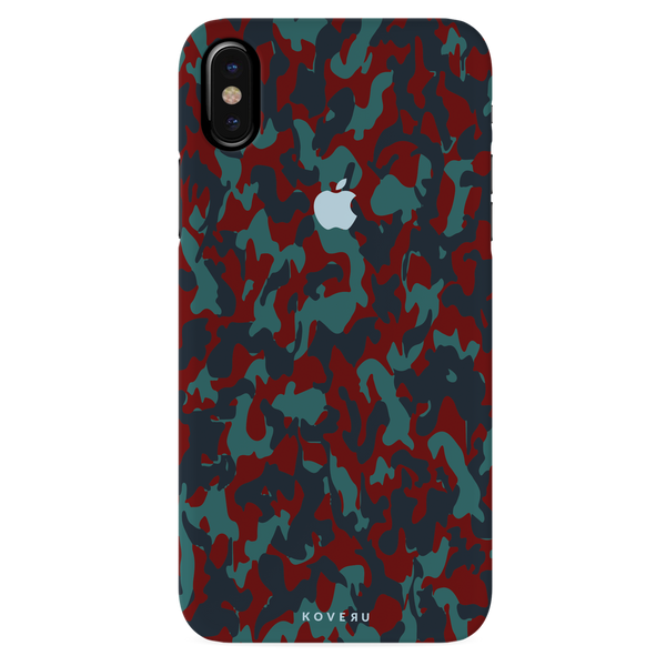 Red Camouflage Cover Case For iPhone X