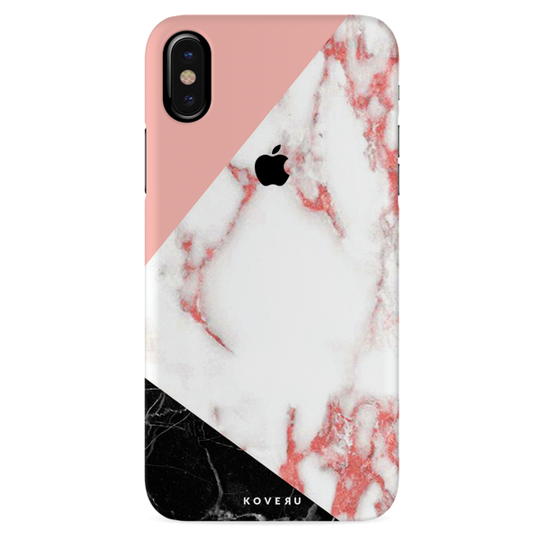 Peach Geometric Marble Cover Case For iPhone X