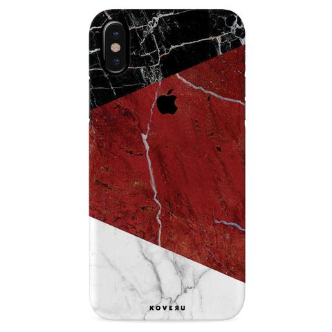 Red Geometric Marble Cover Case For iPhone XS