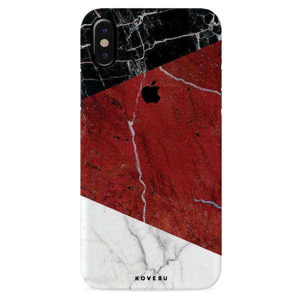 Red Geometric Marble Cover Case For iPhone X
