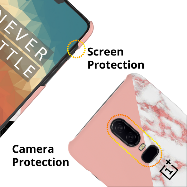 Peach Geometric Marble Cover Case For OnePlus 6