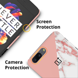 Peach Geometric Marble Cover Case For OnePlus 5