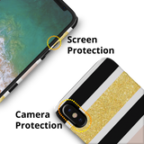 Gold Peach Strips Case Cover for iPhone XS