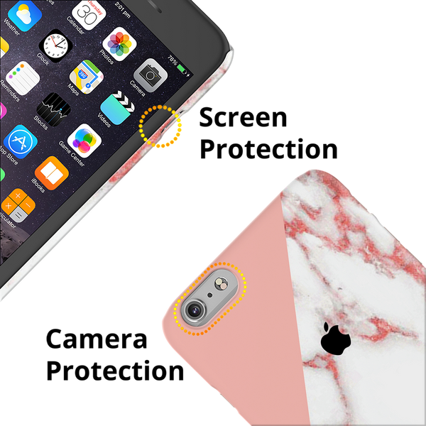 Peach Geometric Marble Cover Case For iPhone 6/6S Plus