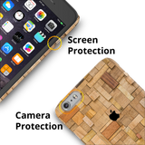 Square Wood Texture Back Cover Case for iPhone 6/6S Plus