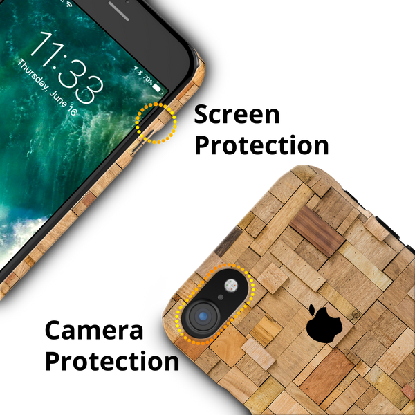Square Wood Texture Back Cover Case for iPhone 7/8