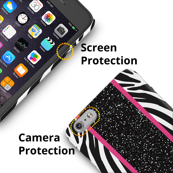 White Zebra Pattern Cover Case for iPhone 6/6S Plus